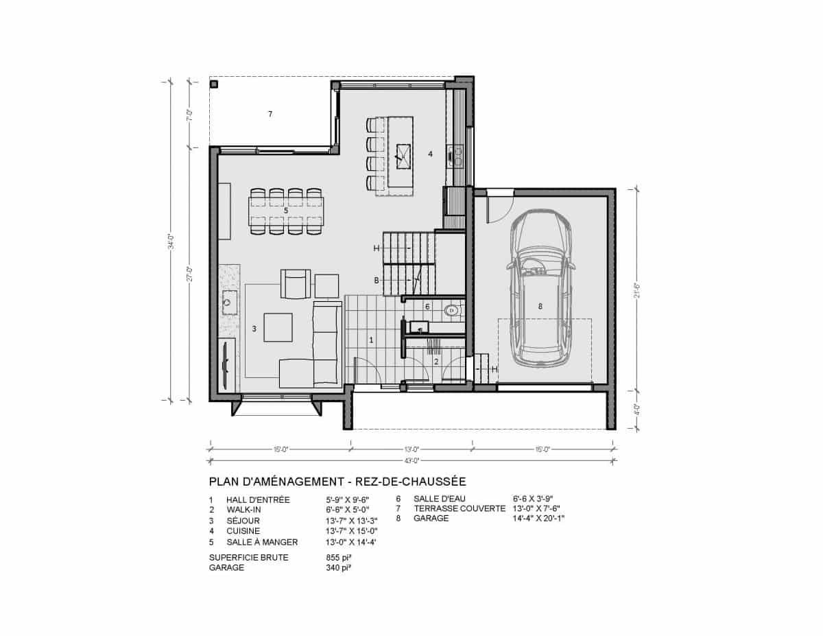 Plan maison rez de chaussée Fora