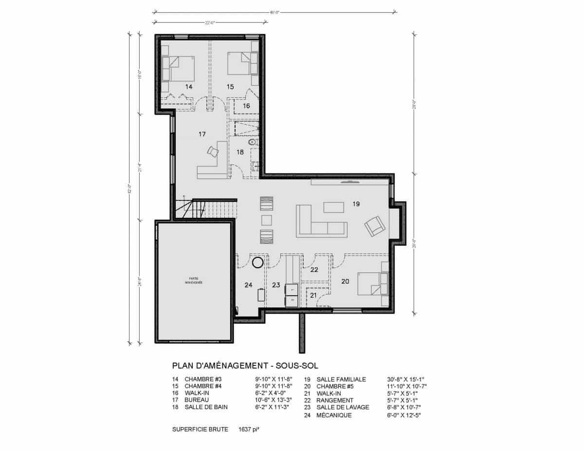 plan de maison moderne sous sol navarro