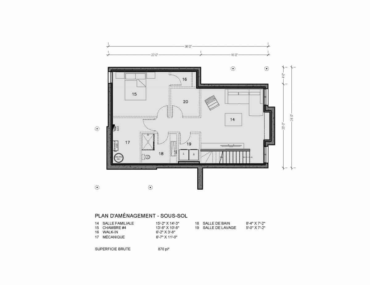 Plan de maison sous sol chalet adirondack
