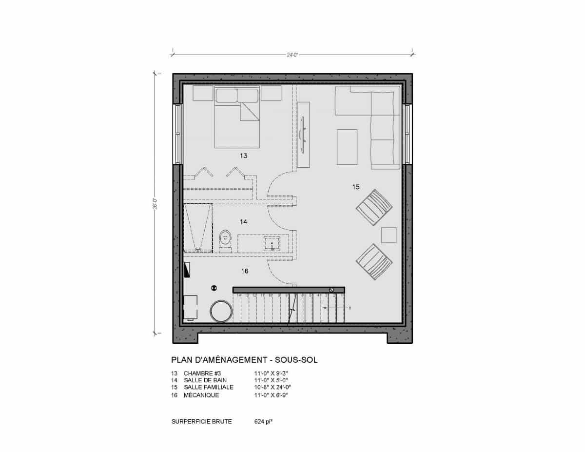 plan de maison moderne Monterey