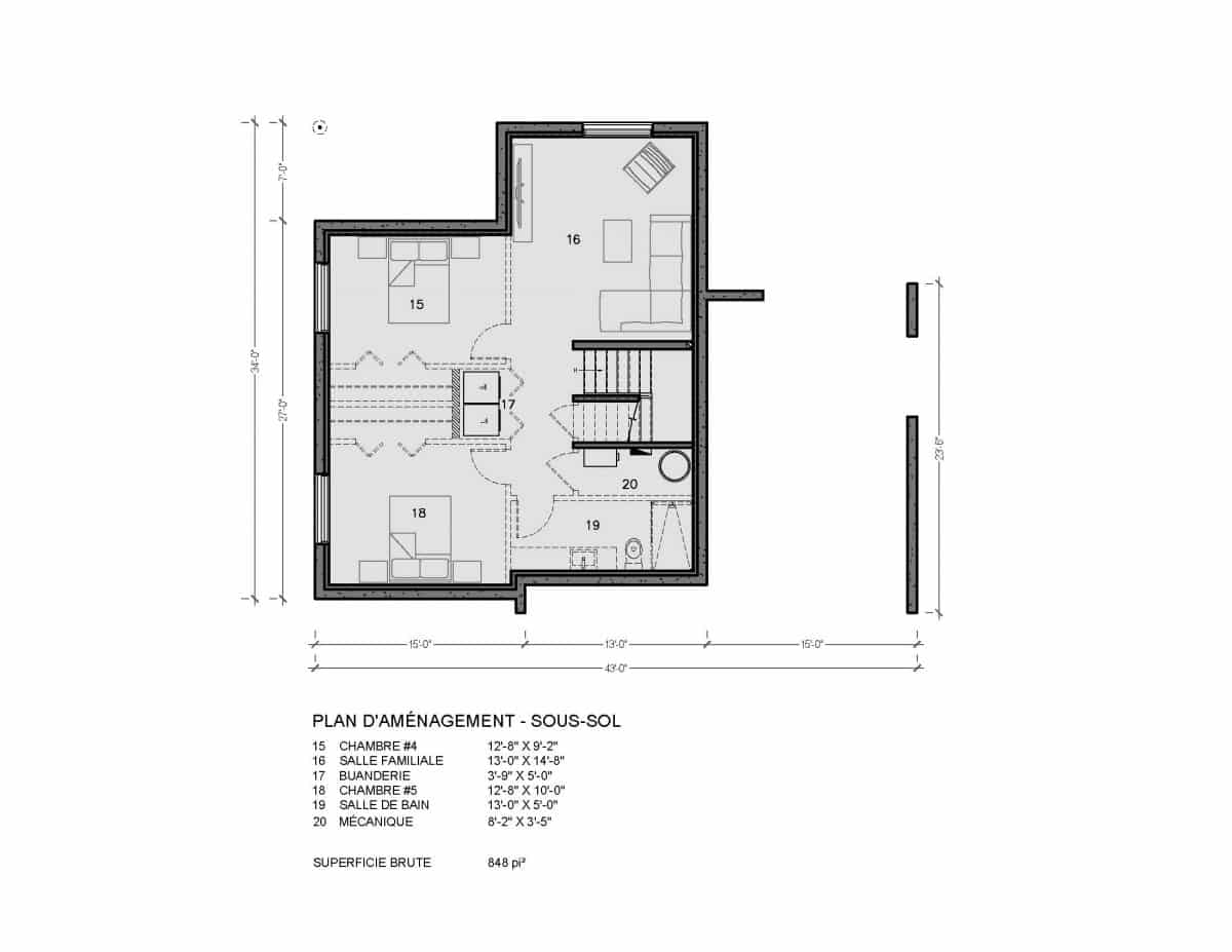 plan de maison moderne sous sol Mesa