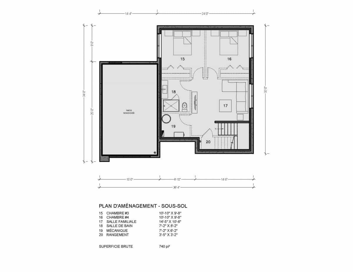 plan de maison sous sol Pasadena