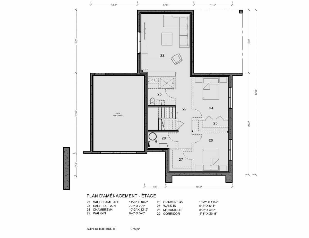 plan de maison étage Pasadena