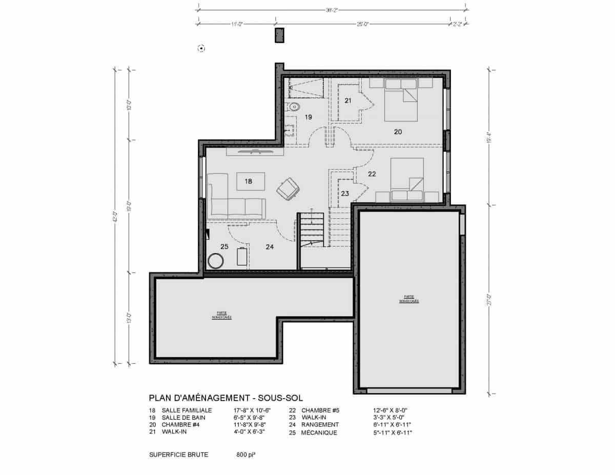 Plan de maison sous sol Arlington