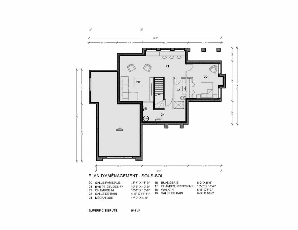 plan de maison transitionnelle Bridgeport