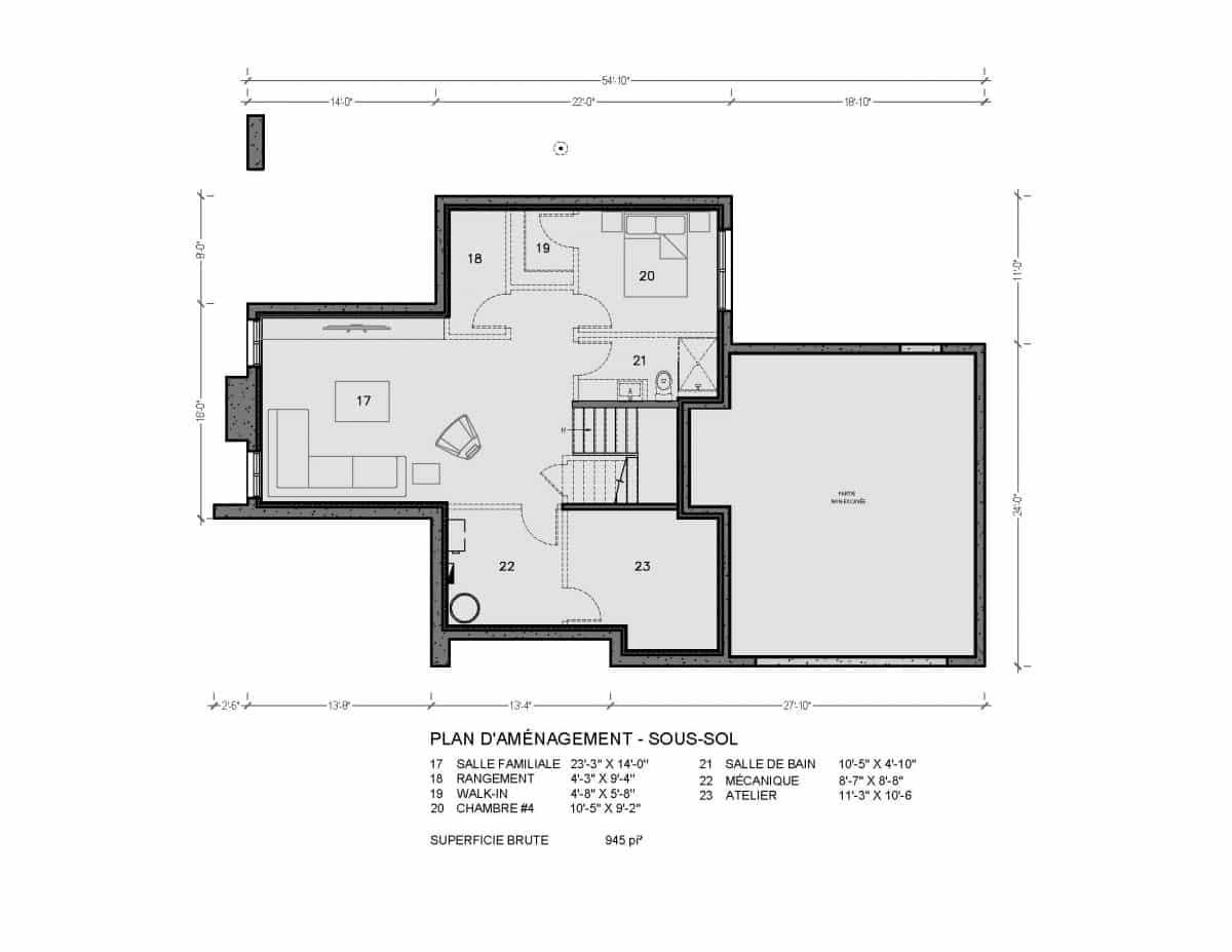 plan de maison sous sol rockwood