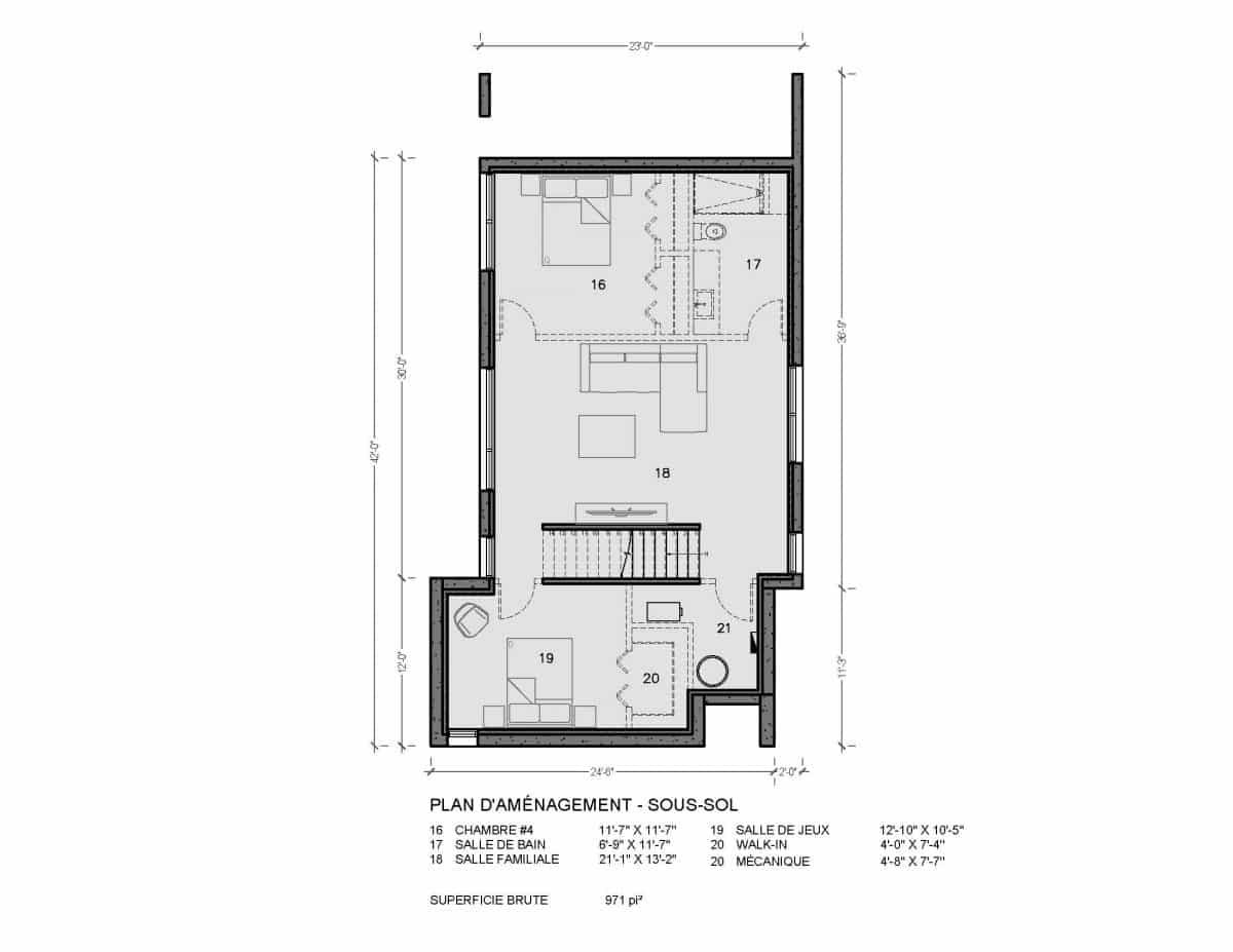 plan de maison sous sol Newtown
