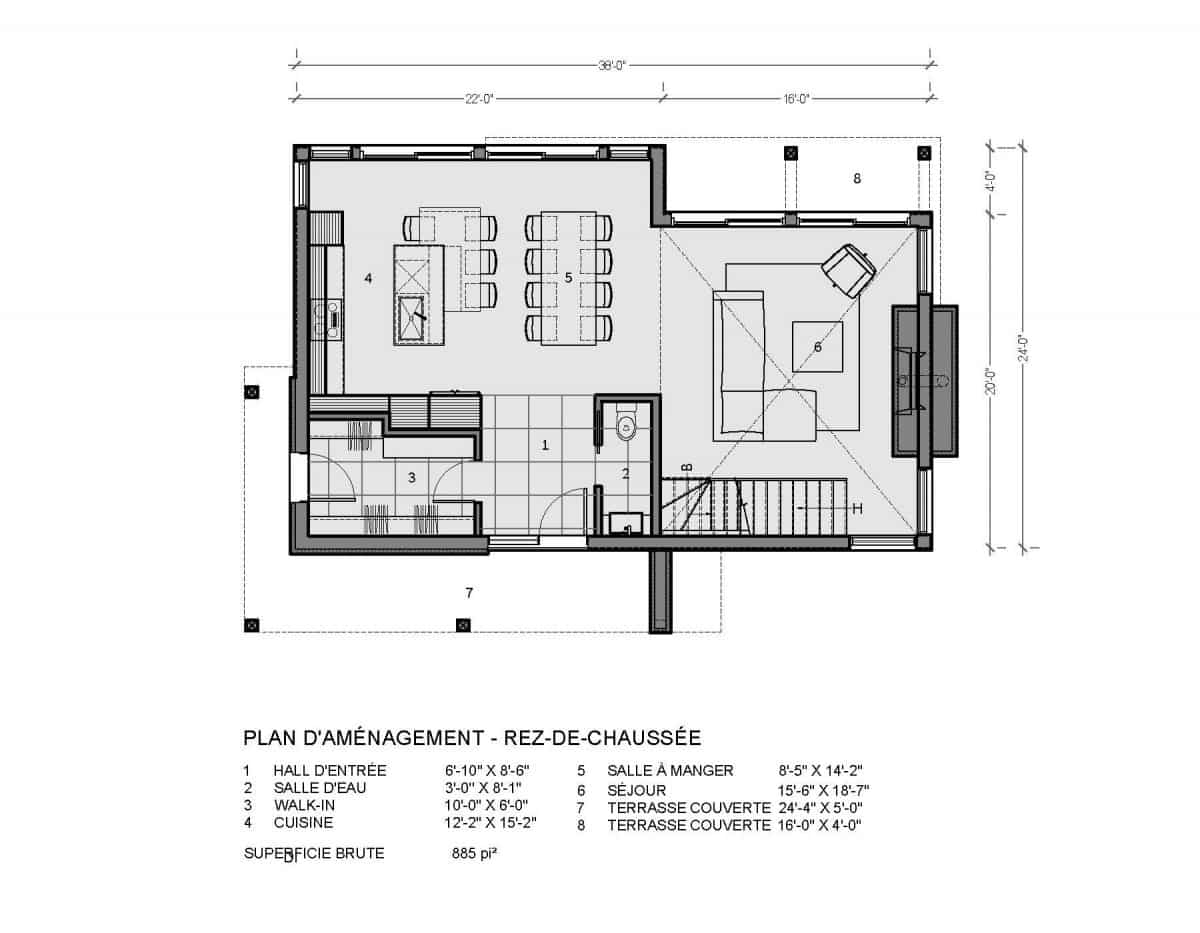 plan de maison chalet adirondak