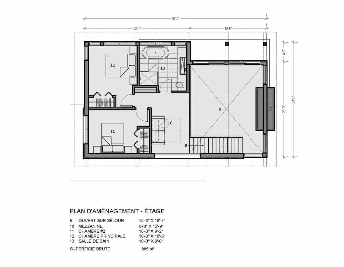 plan de maison chalet bois adirondak
