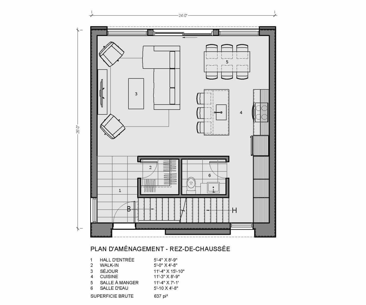 plan de maison rez de chaussée monterey