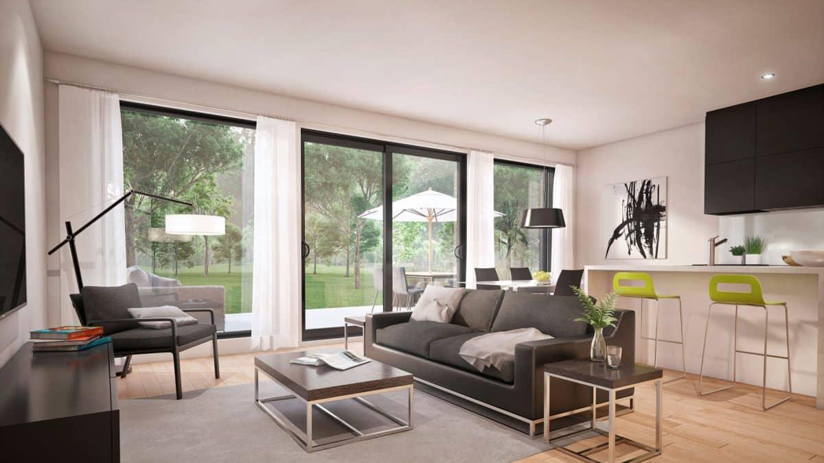 Salon plan de maison moderne monterey