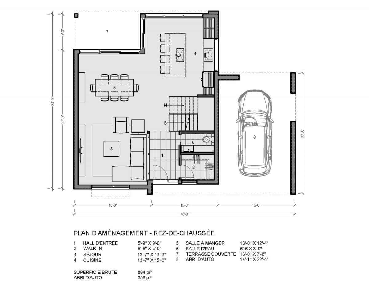 plan de maison rez de chaussée mesa