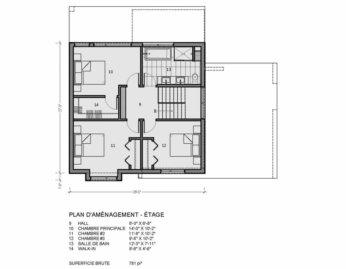 plan de maison étage mesa