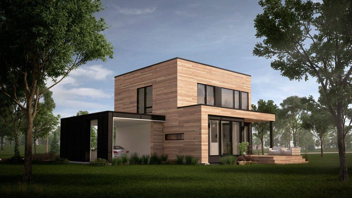 plan de maison moderne Mesa cour arrière
