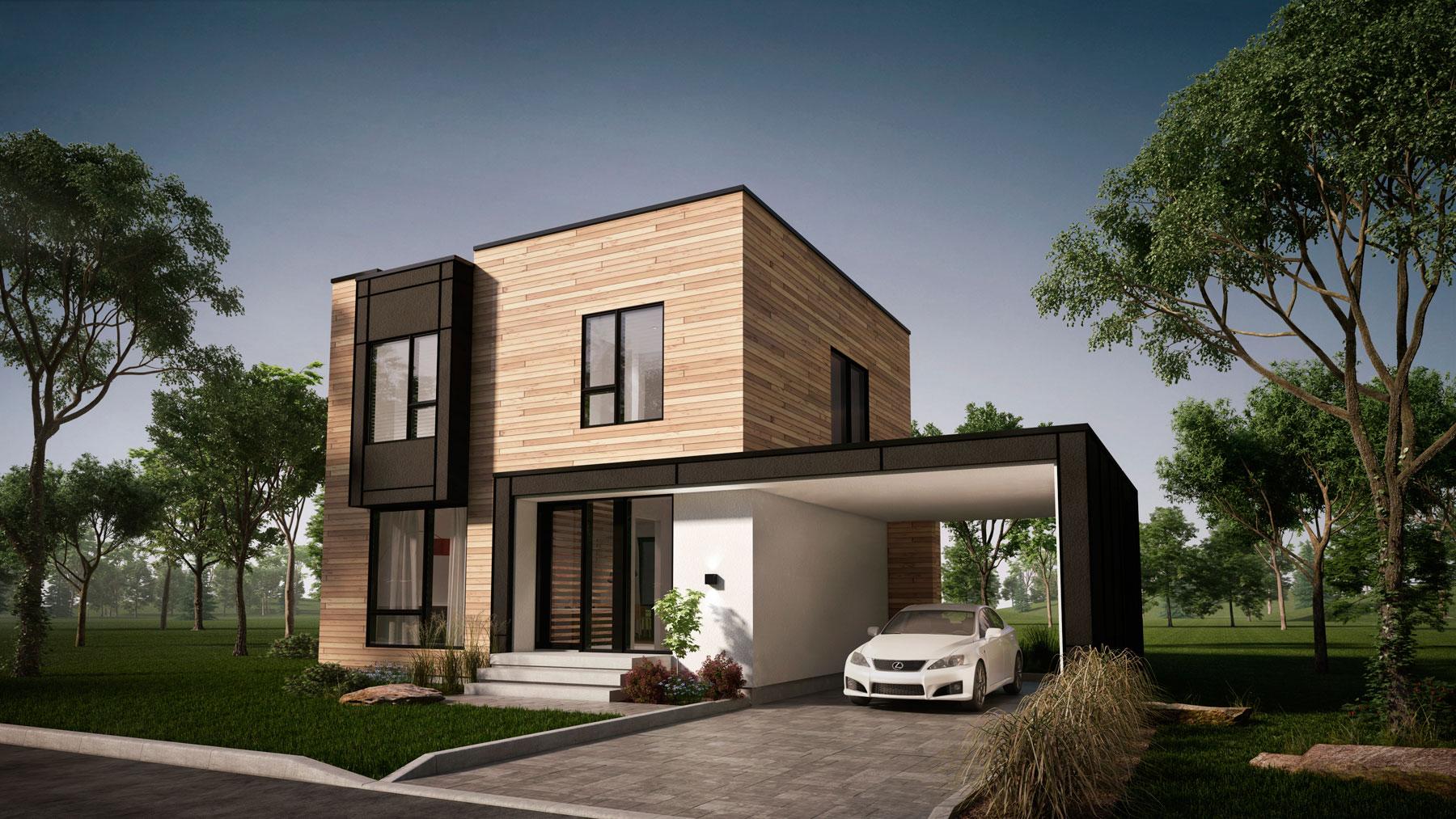plan de maison moderne carport