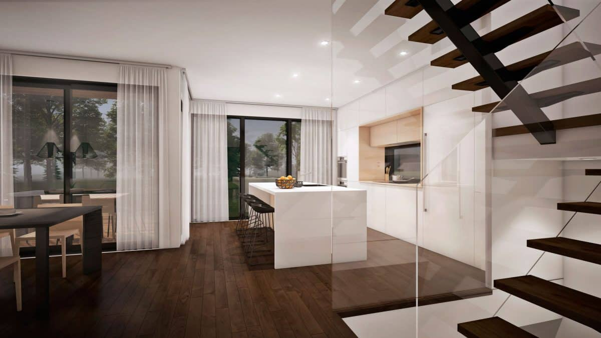 escalier design cuisine plan de maison moderne Mesa