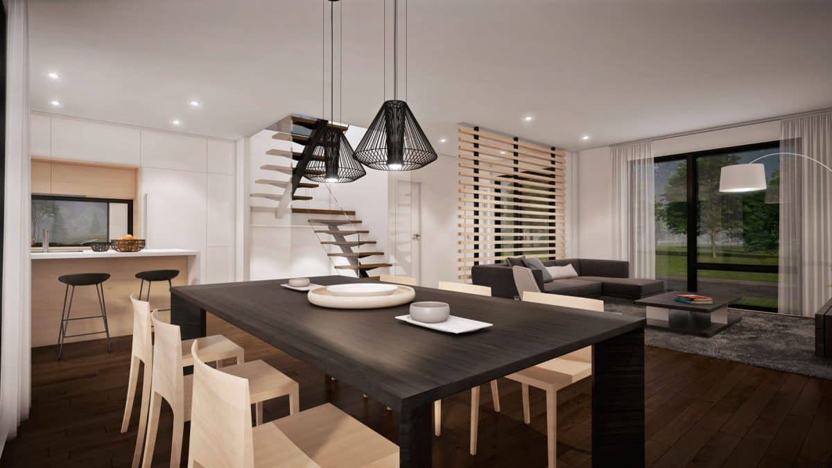 Séjour plan de maison moderne mesa