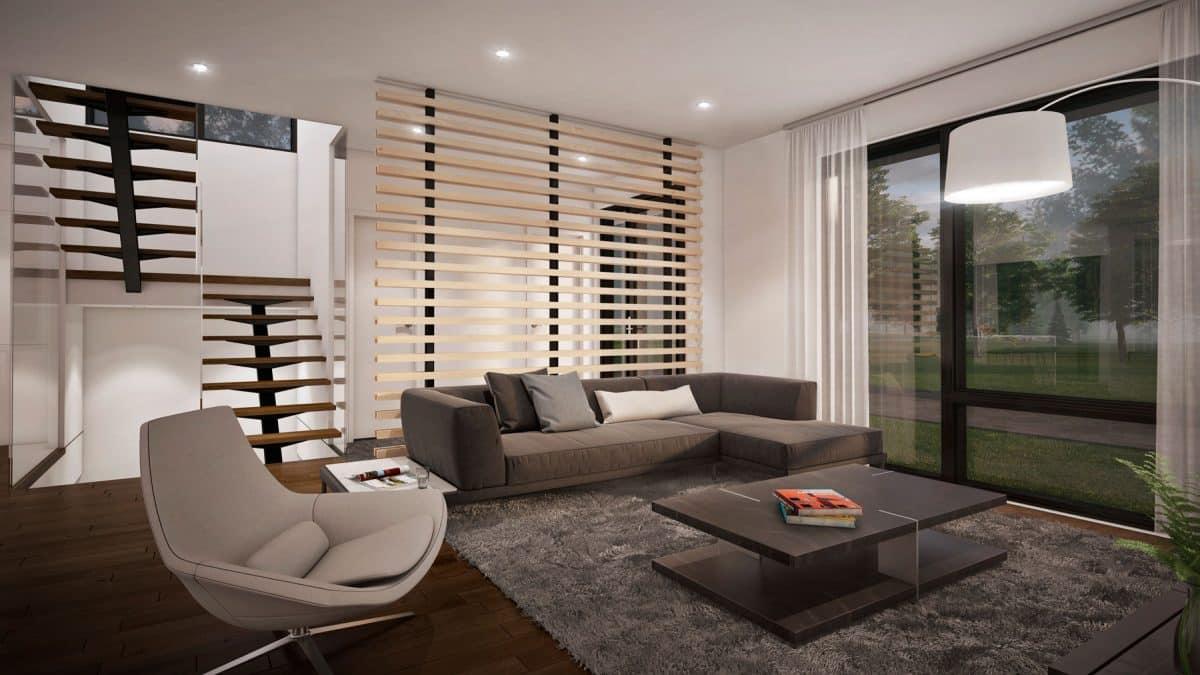 Salon maison moderne mesa plan