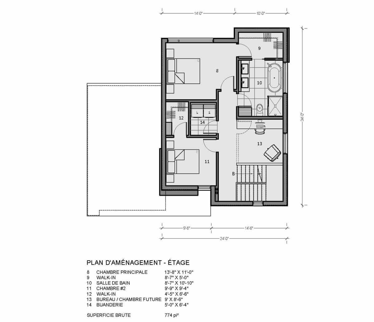 plan de maison étage saratoga