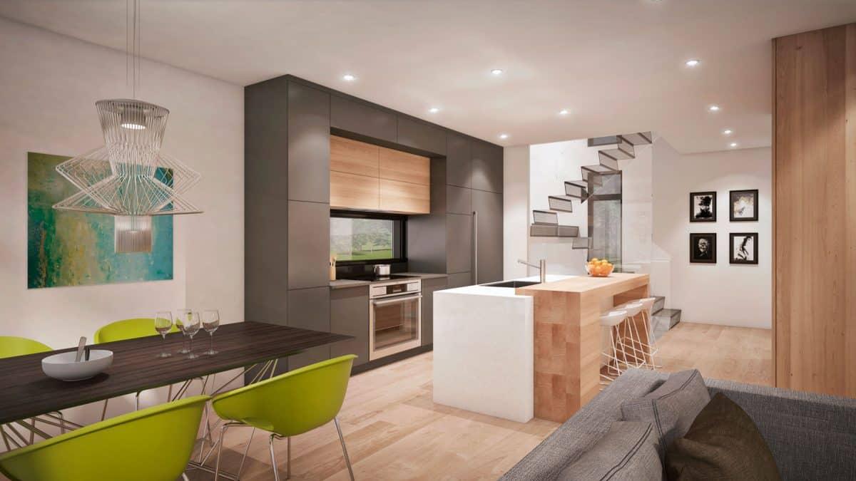 Séjour ilot central de cuisine plan de maison moderne saratoga