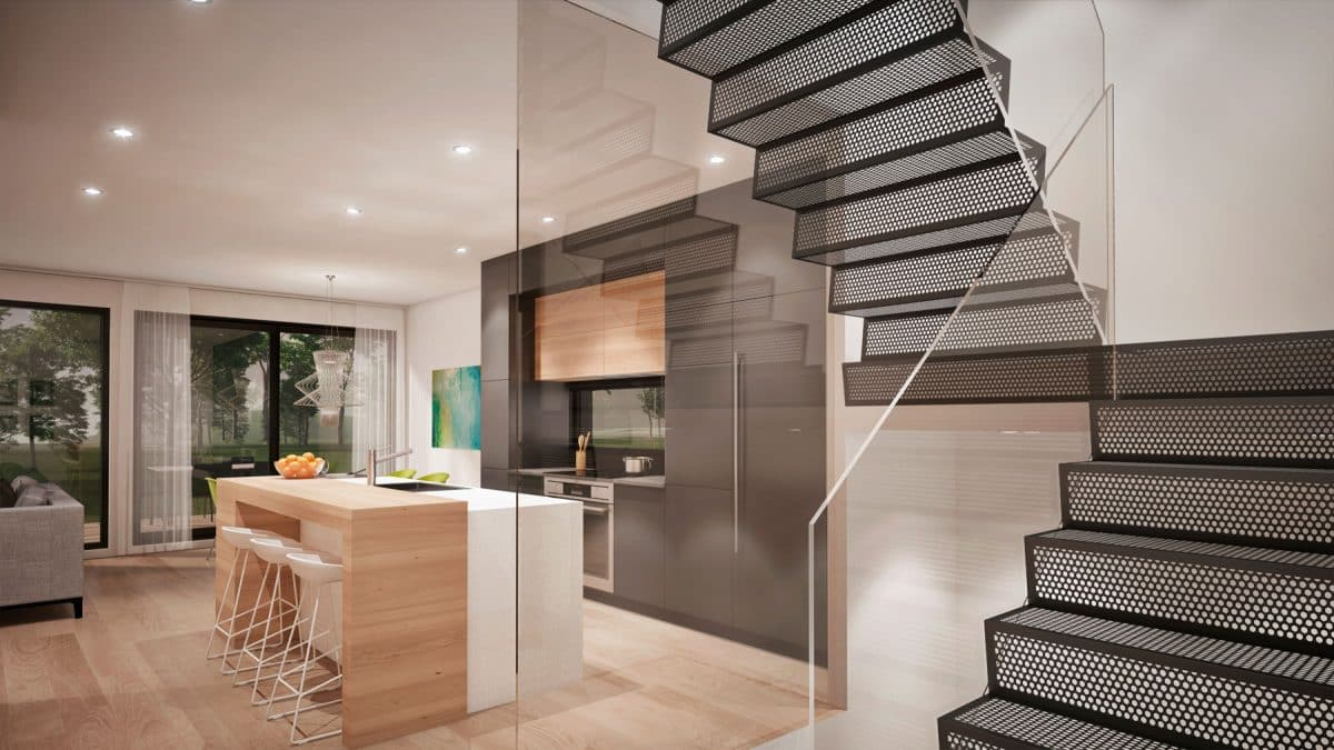 Escalier design plan de maison moderne saratoga