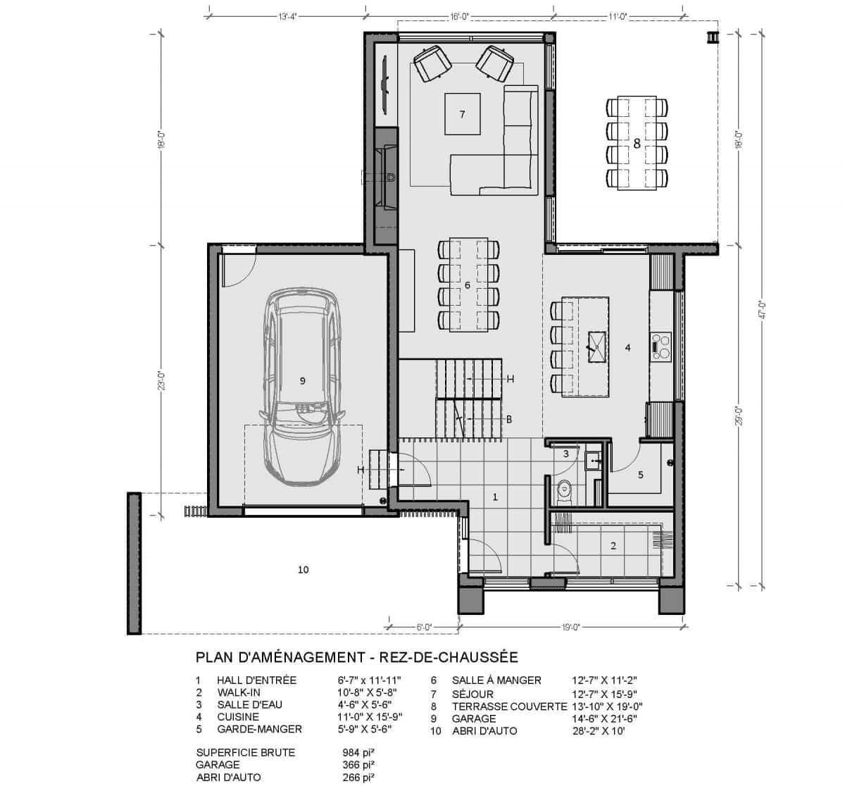 plan de maison rez de chaussée pasadena