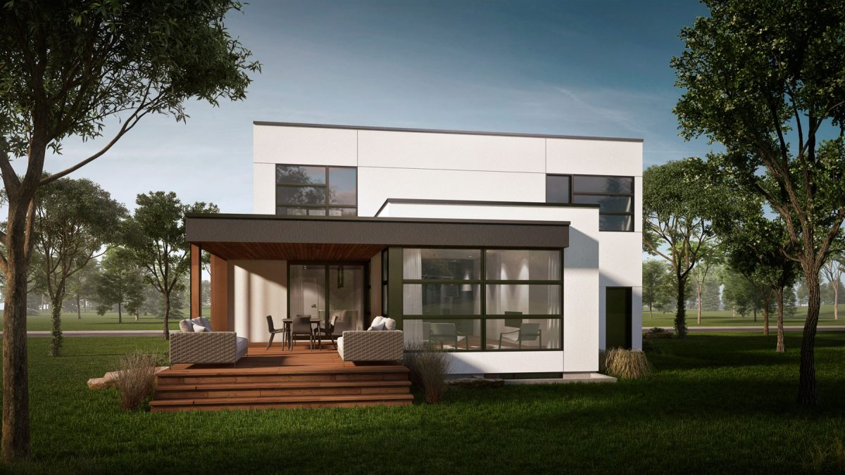 Maison moderne plan en L terrasse couverte pasadena
