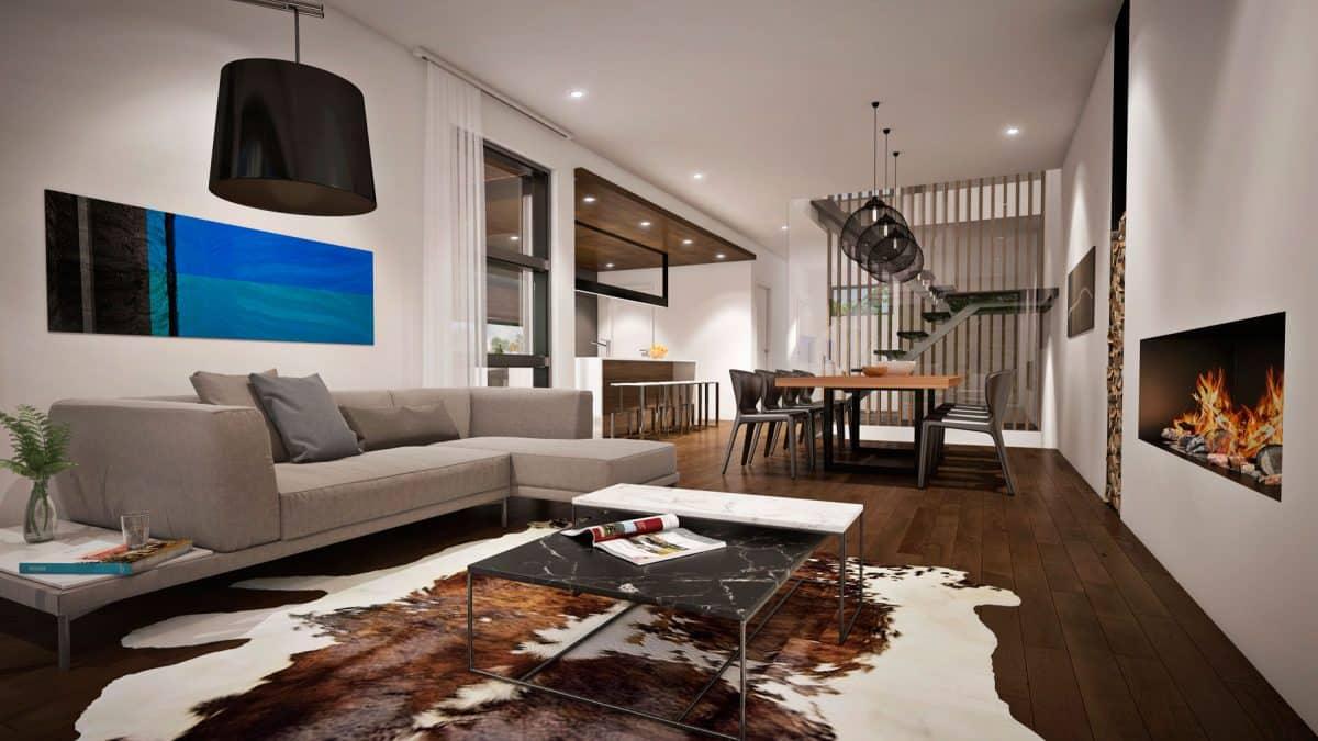 Salon plan de maison moderne Pasadena