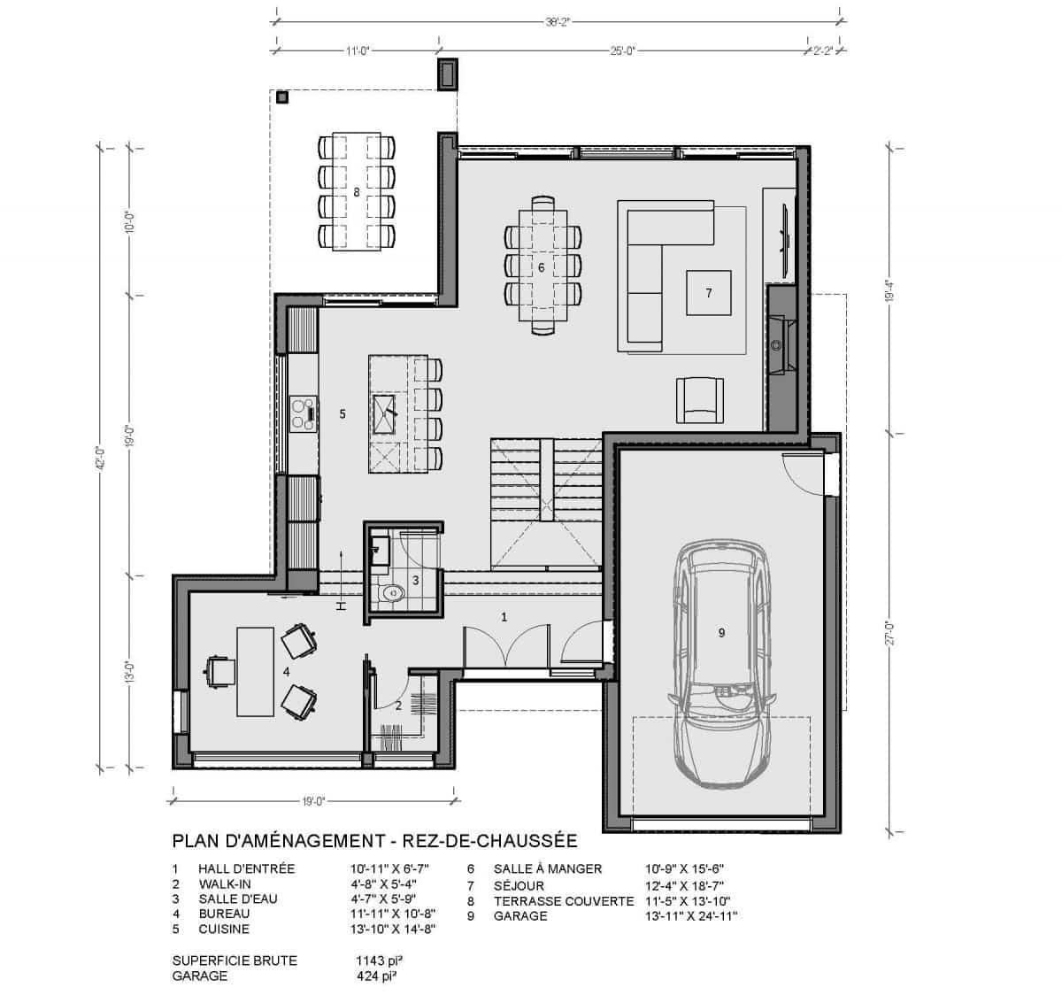 plan de maison rez de chaussée arlington
