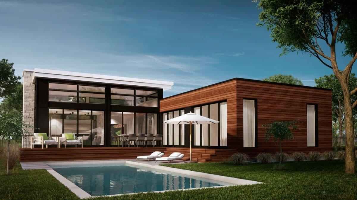 plan de maison plain pied piscine arrière Navarro