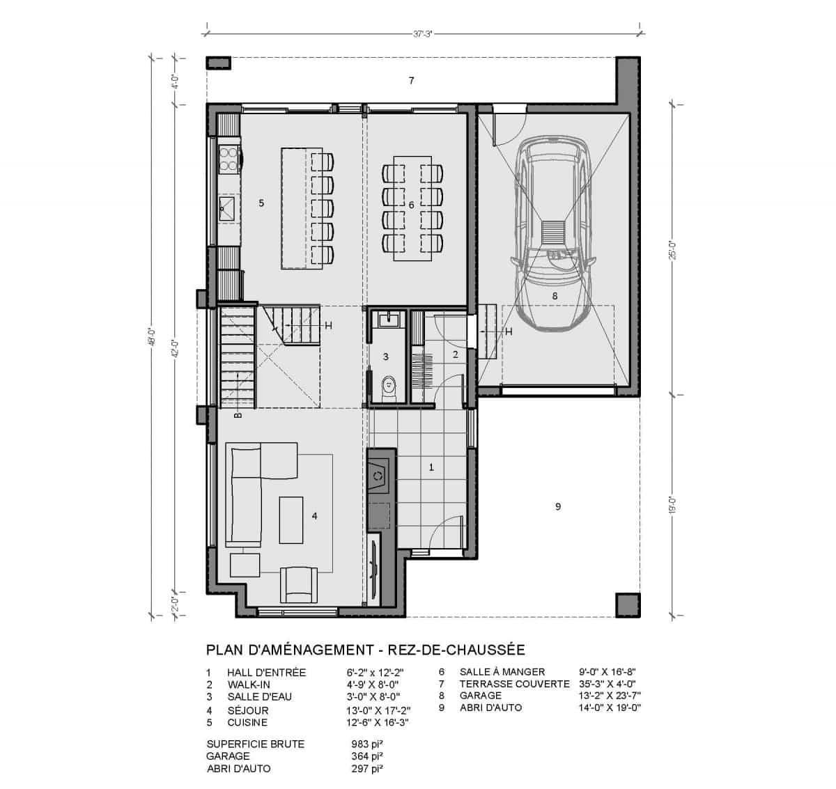 plan de maison rez de chaussée Oslo