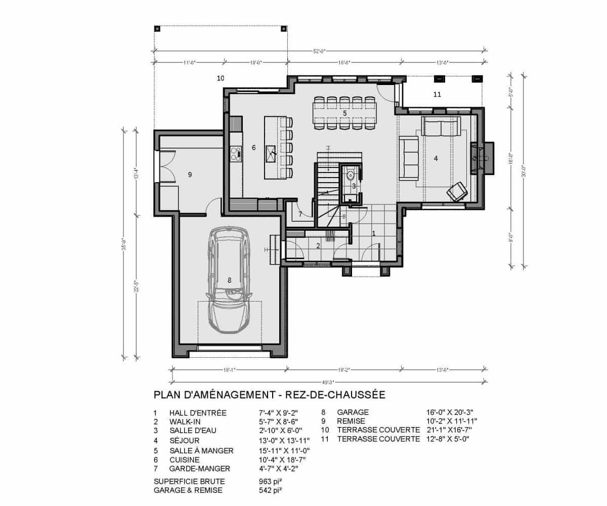 plan de maison rez de chaussée bridgeport