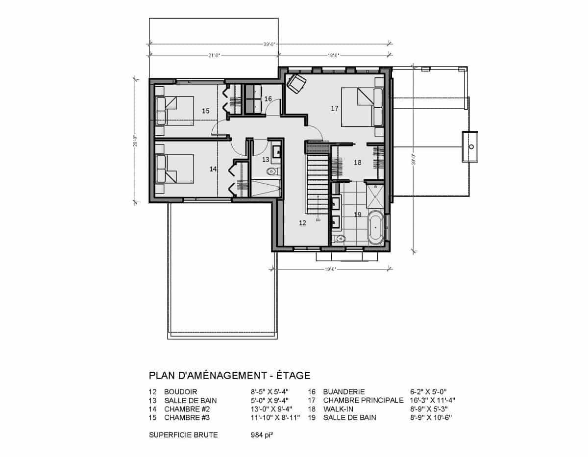 plan de maison étage farmhouse bridgeport