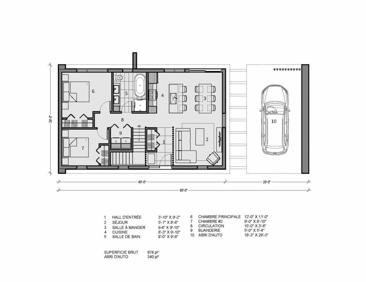 plan de maison moderne plain pied