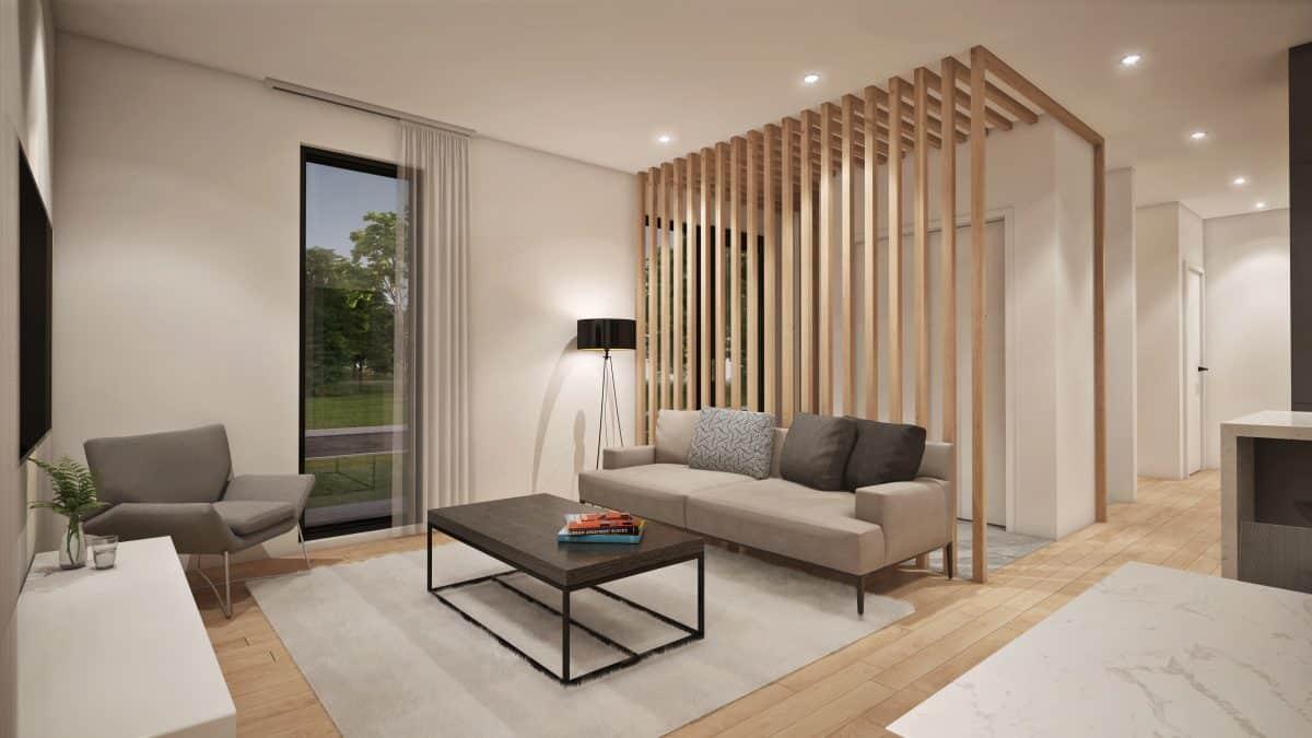 Salon plan de maison moderne malibu