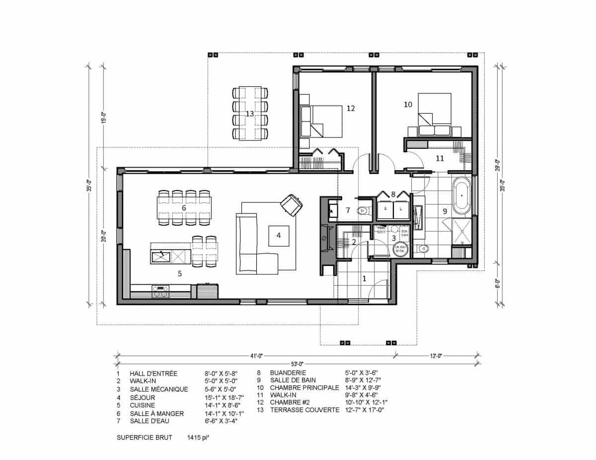 plan de maison chalet plain pied