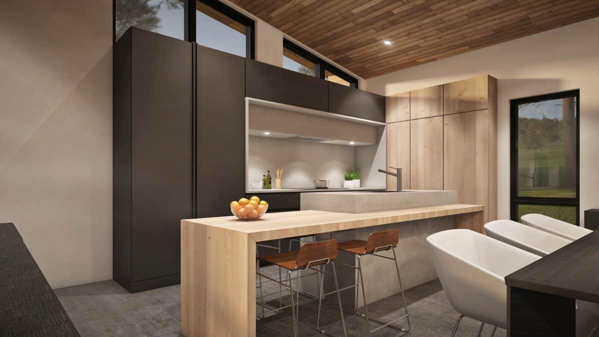 Cuisine plan de maison bois hudson