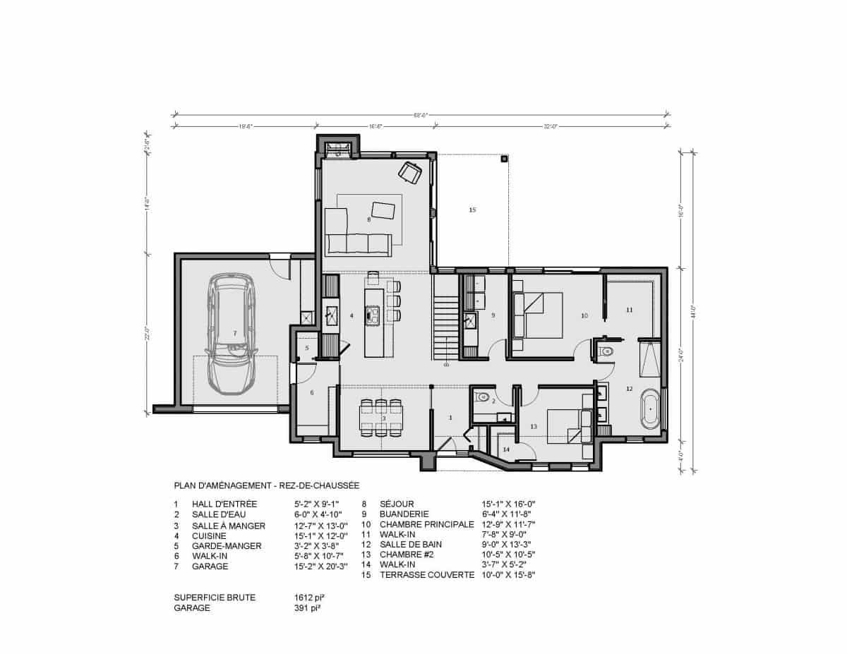 plan de maison en L plain pied hampton