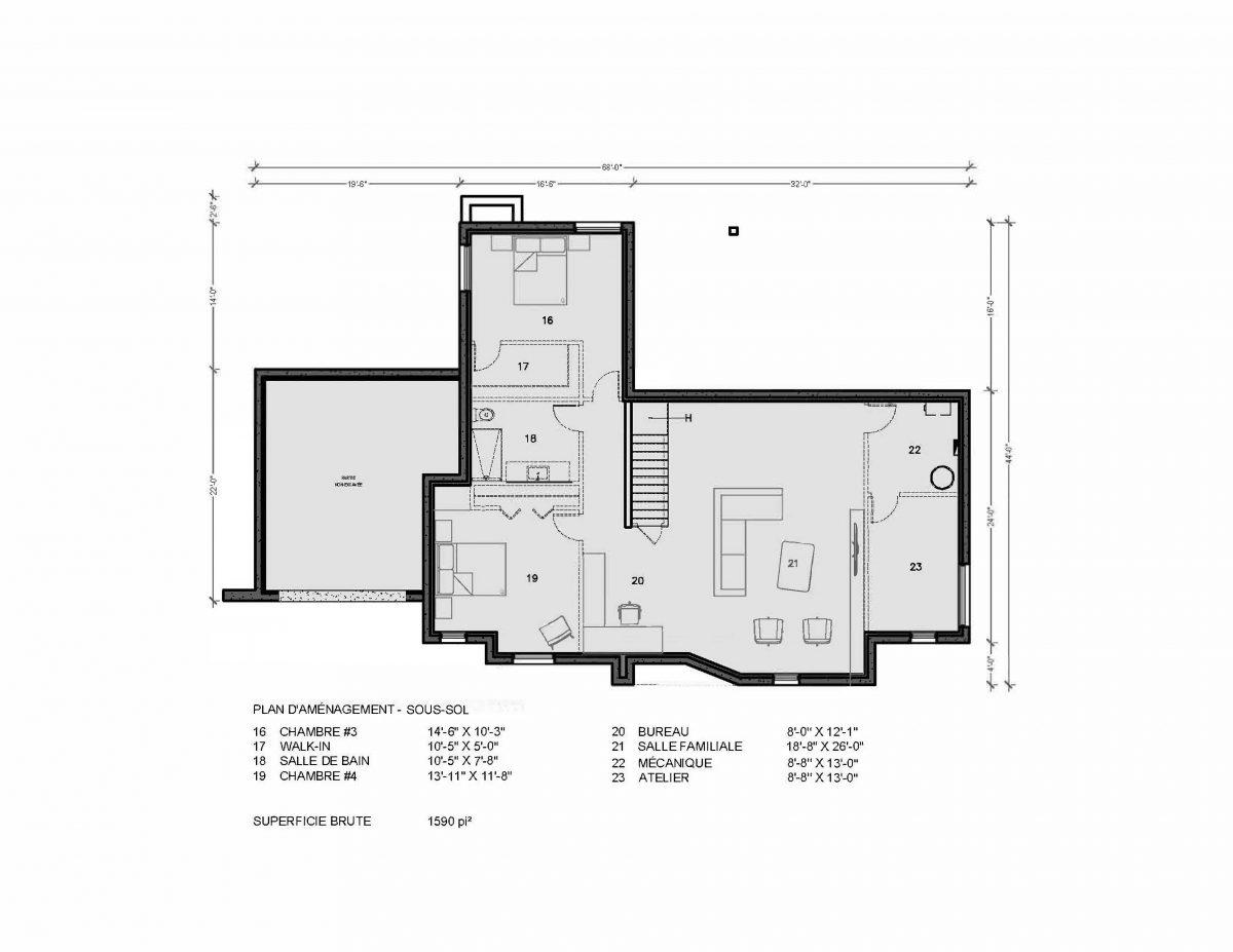 Plan de maison sous sol Hampton