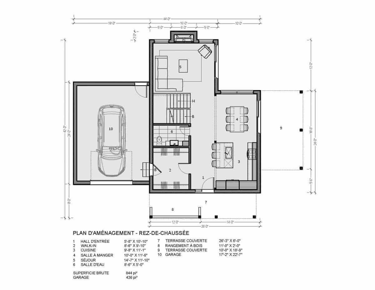 plan de maison rez de chaussée ungava