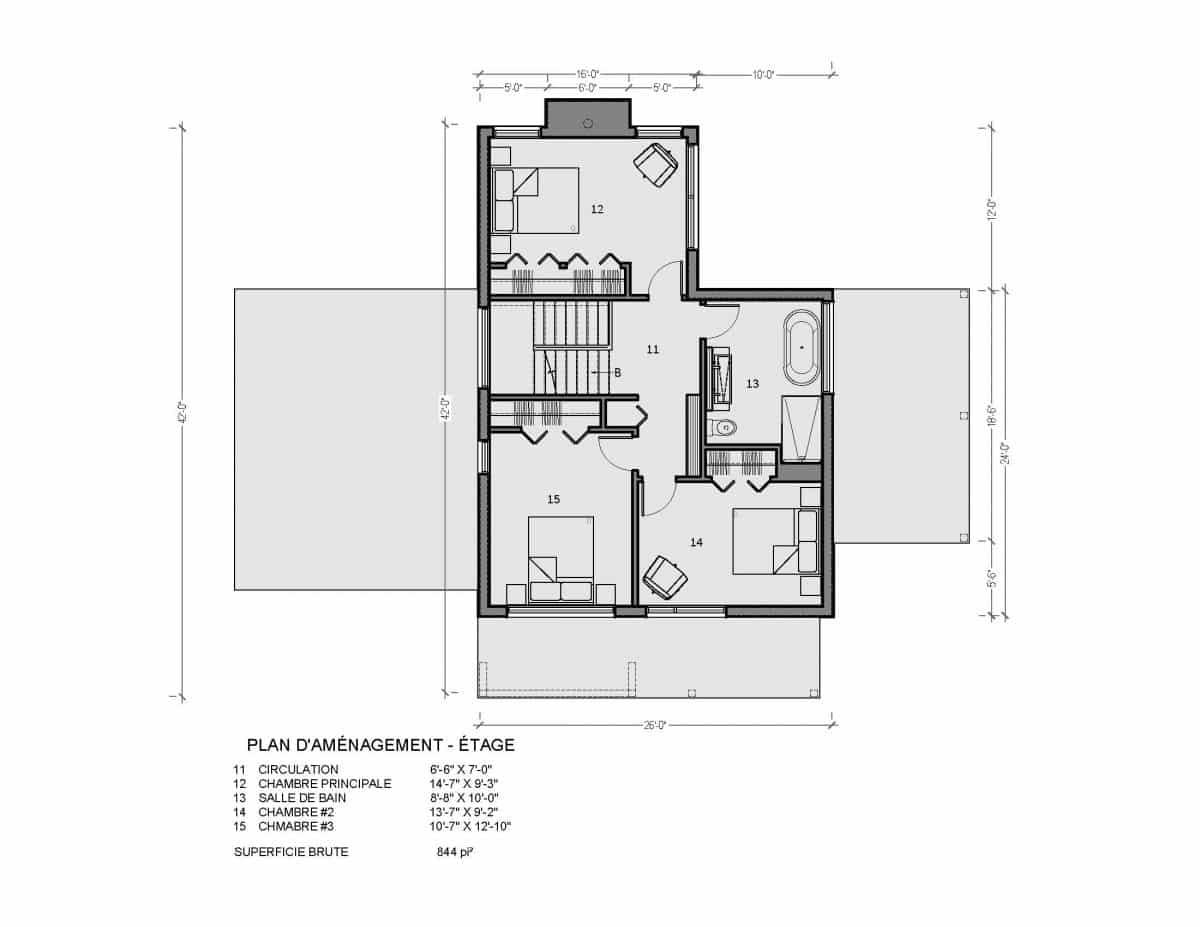 plan de maison étage ungava