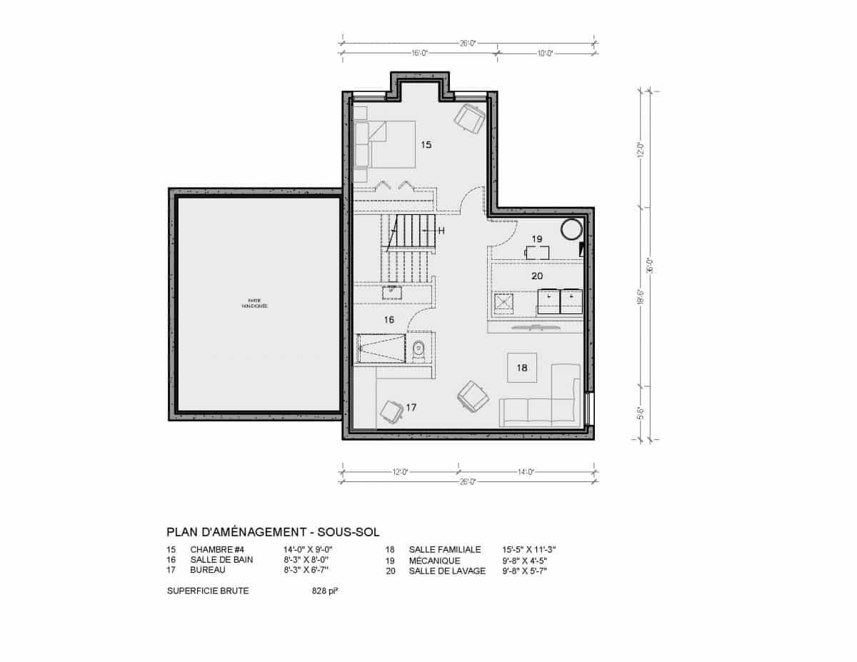 plan de maison sous sol Ungava
