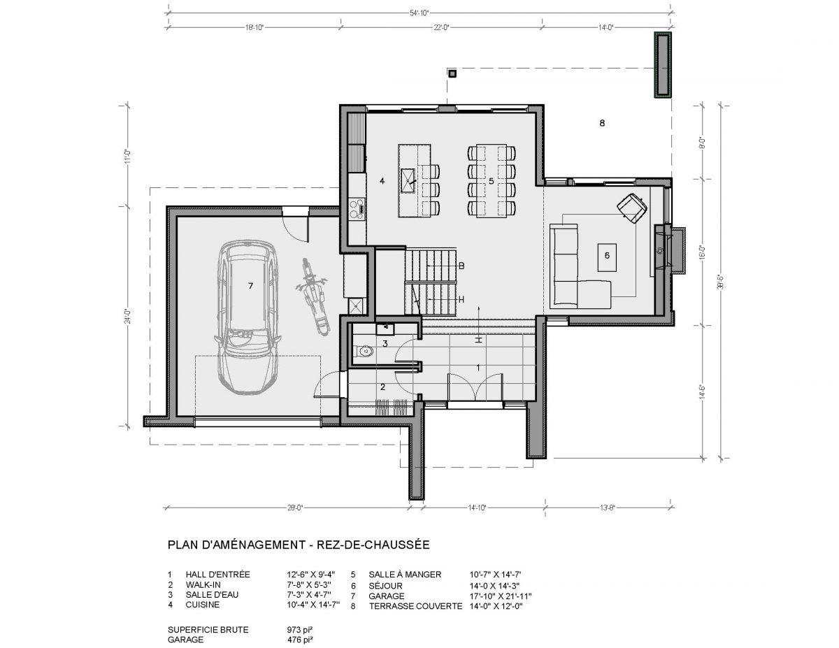 Plan de maison moderne rez de chaussé garage