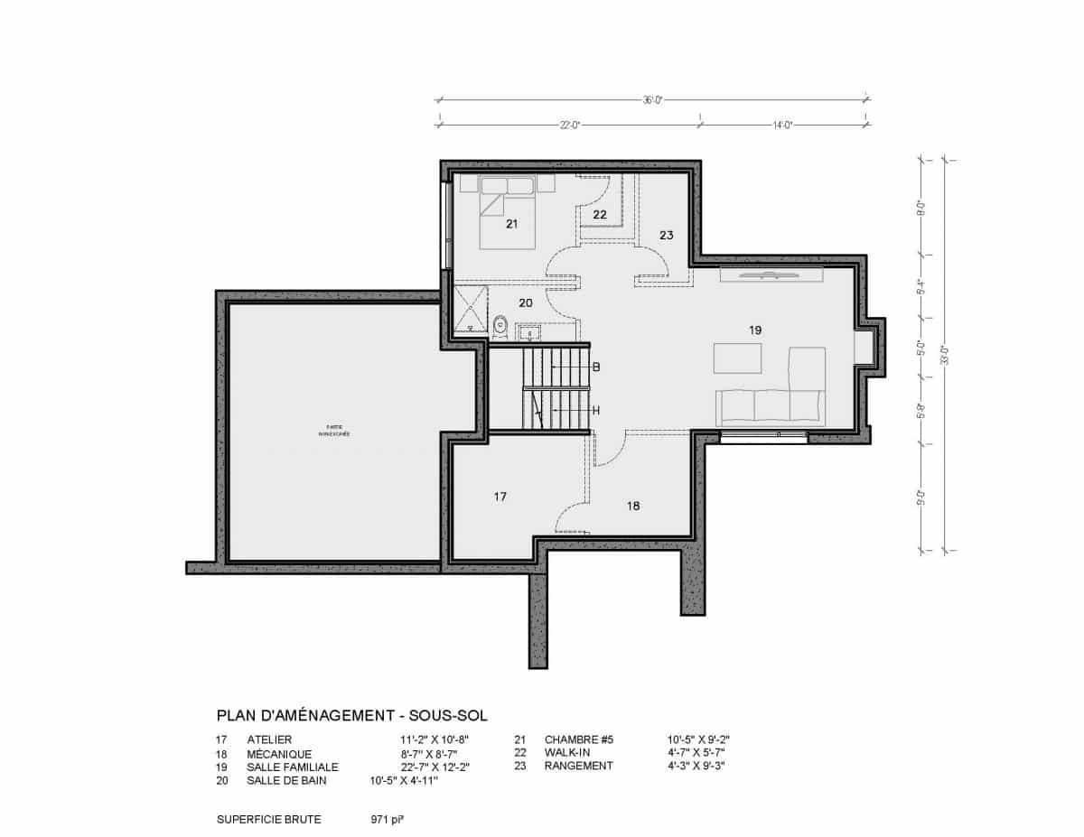 Plan de maison moderne sous sol