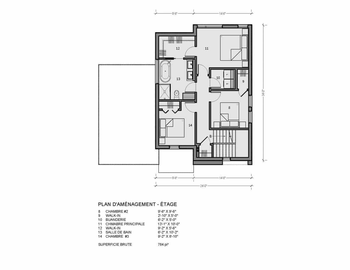plan de maison étage Alta