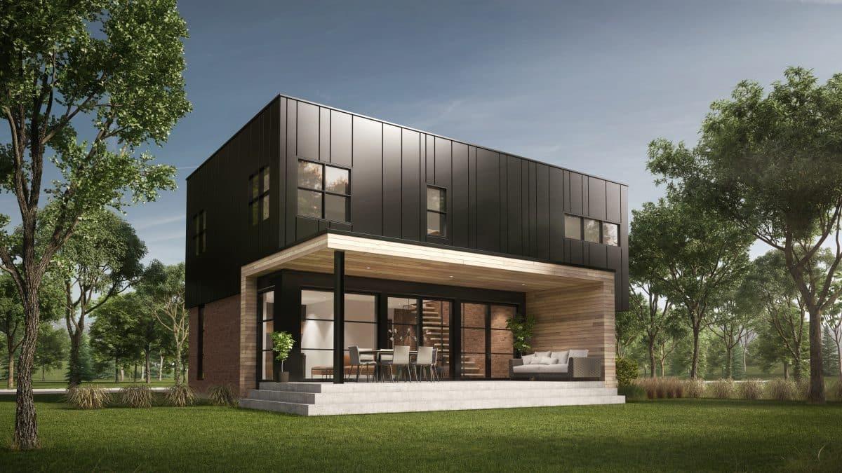 Cour arrière maison moderne plan Soho