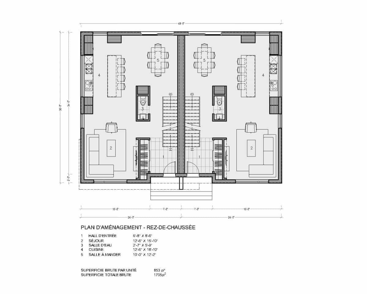 plan de maison rez de chaussée jumelé