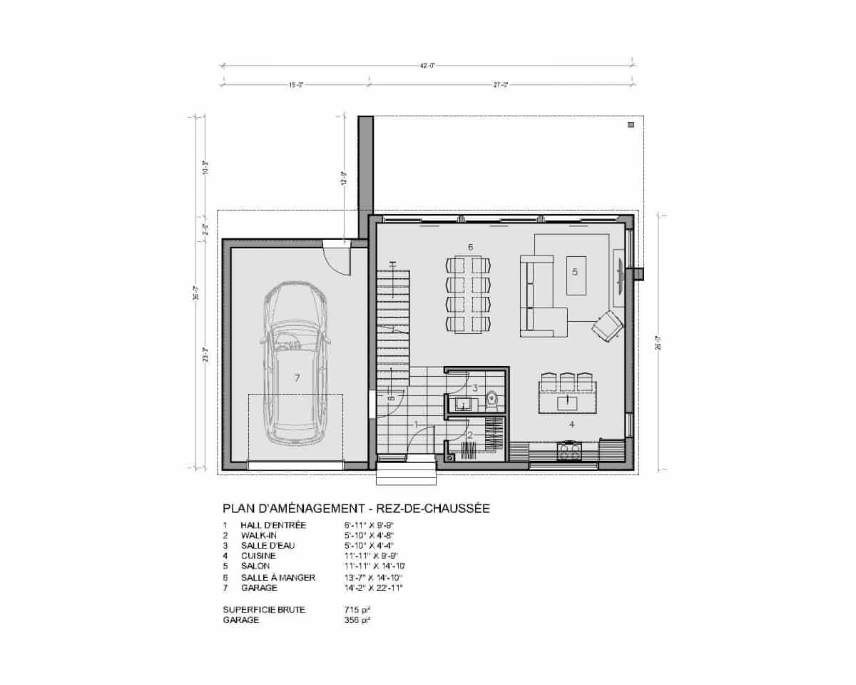plan de maison rez de chaussée Soho