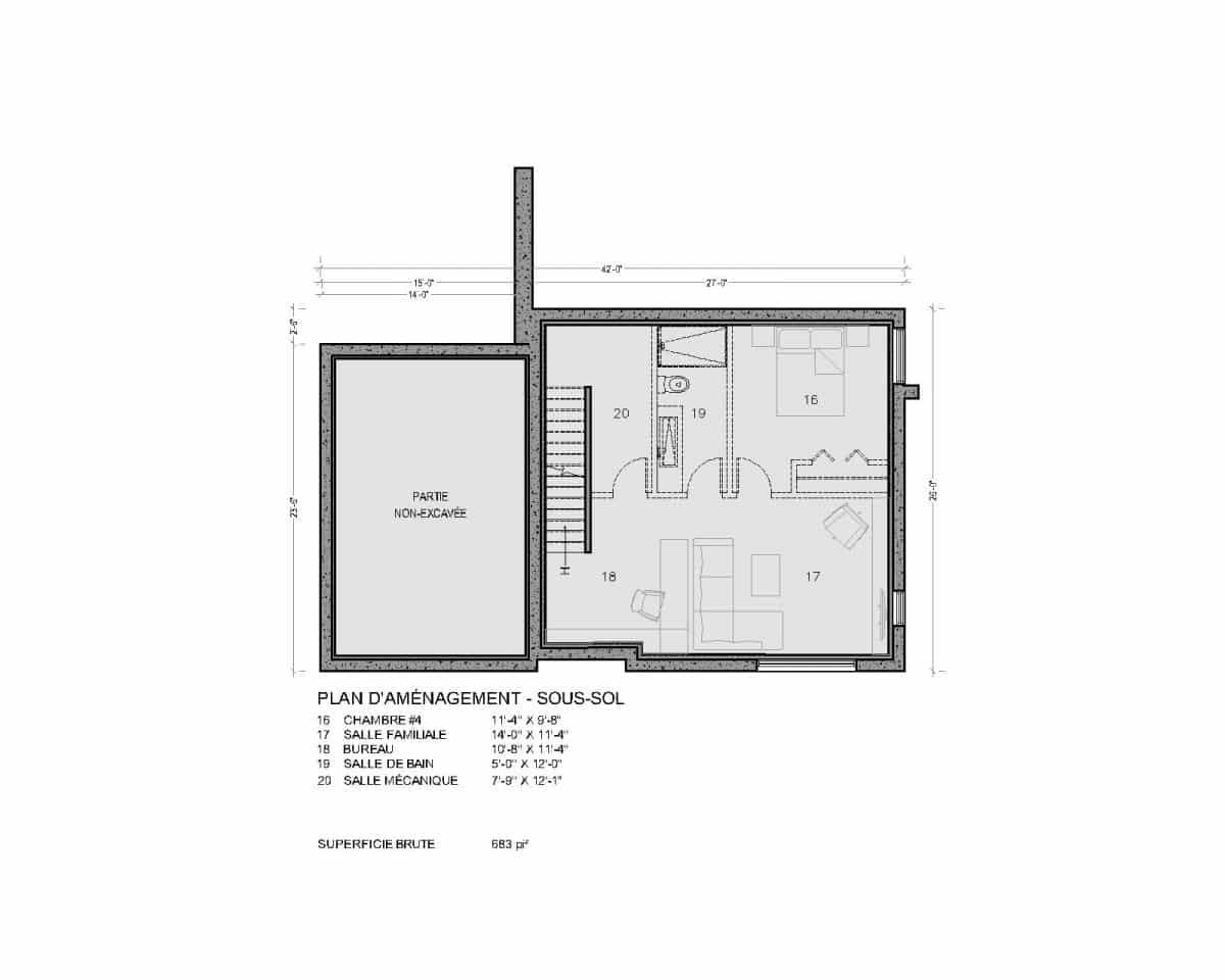 plan de maison sous sol Soho