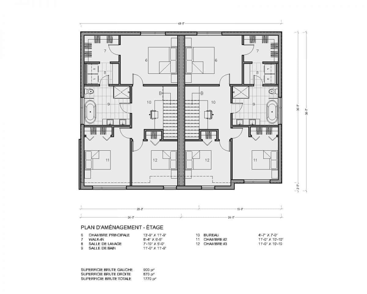 plan de maison moderne jumelé étage